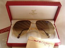 NEW VINTAGE CARTIER SANTOS SCREWS !BIG! 62MM SUNGLASSES FRANCE 18K HEAVY PLATED