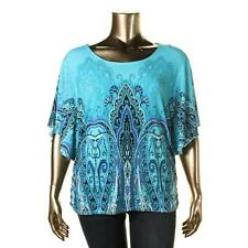 JM Collection 1443 Womens Blue Printed Embellished Casual Top Blouse XL BHFO