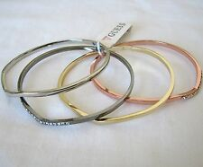 NEW GUESS 4PC SET ROSE+GOLD+SILVER+GUNMETAL TONE+CRYSTAL BANGLE,BRACELET