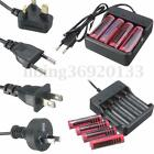 4Pcs 18650 3800mAh 3.7V Li-ion Rechargeable Battery + UK/EU/AU/US Plug Charger