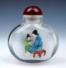 Peking Glass Inside *Lady & Kid* Reverse Hand Painted Snuff Bottle #09041507