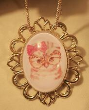 Festooned Rim Adorable Hoot Owl with Pink Bow & Glass Goldtn Necklace Brooch Pin