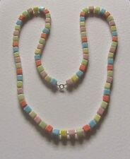 "SINGLE STRAND multi coloured OPAQUE GLASS BEAD NECKLACE 30"" PRL CZECH PASTELS"
