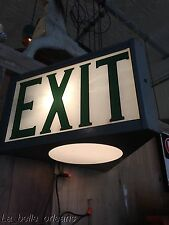 VTG INDUSTRIAL STEEL AND GLASS DOUBLE SIDED EXIT SIGN WITH LOWER LIGHT! L@@k!