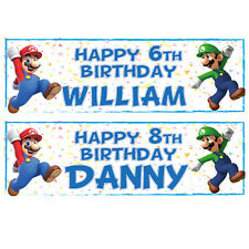 2 PERSONALISED SUPER MARIO BROTHERS BIRTHDAY BANNERS 3ft x 1ft LUIGI