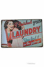 "Retro 12"" Vintage-Style 50's Ad Laundry Room Decor Metal Wall Sign Plaque"