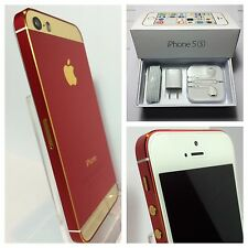 *RARE* CUSTOM RED & GOLD iPhone 5s - 16GB - (Unlocked) w/box & acc Verizon Metro