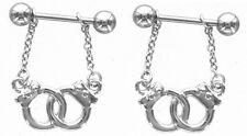 Nipple Shield Rings barbell barbells Handcuffs sold as a pair 14 gauge