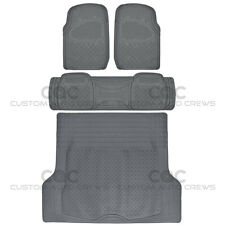 Max Duty Rubber Floor Mats for CAR SUV Truck w/ Cargo Liner 5 Piece Set Gray