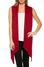 USA Women Open Front Vest Long Tunic Top Shawl Collar Draped Cardigan S M L XL