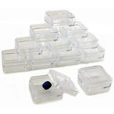 "12 Square Storage Jars Bead Beading Jewelry Parts Stackable 1 5/16"" x 11/16"""