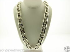 "Men's Italy Sterling Silver 925 Thick Chain Necklace 21.75"" #108"