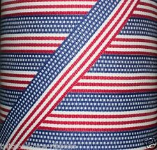 "5 yds 7/8"" PATRIOTIC STARS & STRIPES AMERICAN FLAG Grosgrain Ribbon"