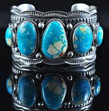 Navajo Sterling Silver Fox Turquoise Handmade Row Cuff Bracelet By Andy Cadman