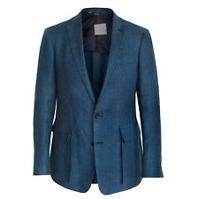 OVADIA & SONS $1,095 blue canvased linen sport coat blazer jacket 40/50 R NEW