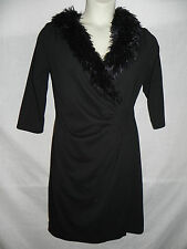 AA STUDIO AA BLACK DRESS WOMENS SIZE 10 FAUX FUR NWT $57.99
