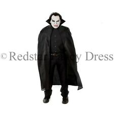 "56"" BLACK DRACULA VAMPIRE CAPE HALLOWEEN FANCY DRESS COSTUME BLOOD FANGS"