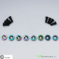 Plain Neo M6 Anodized Aluminium Fender Washer Kit for Engine - Black Bolts