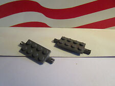 LEGO OLD DARK GRAY (2) 2x4 PLATES with PINS/AXLE HOGWARTS TRAIN PART #30157