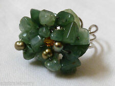 SIlver tone metal green jade stone nugget cluster Fashion Ring  sz 7 adjustable