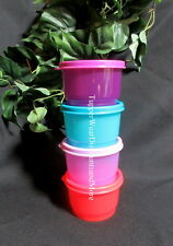 Tupperware NEW Purple Lilac Blue &  Dark Orange SNACK CUP CUPS Set 4 Bowl Seals