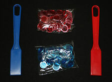 BINGO PAPER Cards, Blue AND Red Magnetic Wand with 100 Chips each color  NEW