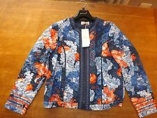 Ladies P. U. Blue Floral Padded Zipped Mary Berry Bomber Jacket Sz 16 (£85) New
