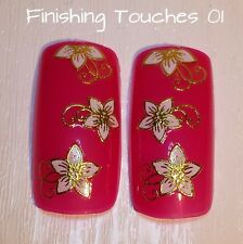 Nail Art Sticker- 3D White Metallic Gold Decal # 227 TJ017 Transfer Wrap Flower