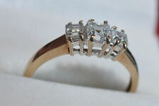 Second hand 9 ct yellow gold 3 stone cubic zirconia size P *reduced* sale price