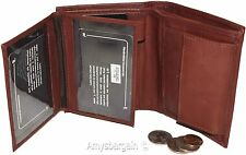 Ladies Leather Bifold wallet, 2 Flip side pieces 8 card slots 3 ID Zip coin case
