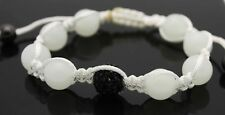 Macrame Beaded Bracelet with White Glass beads and black crystal ball ADJUSTABLE