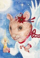 ORIGINAL ACEO WATERCOLOR PAINTING RYTA MOUSE MICE XMAS ANGEL FOLK GIFT DICKENS