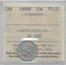 **1890H**, ICCS Graded Canadian,  10  Cent, **VF-20**