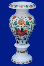 """12"""" White Marble Flower Vase Mosaic Inlay Marquetry Table Arts Decor Gifts H2080"""