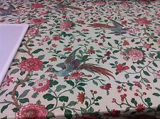 "vintage chintz A.L.DIAMENT &CO ASIAN FABRIC BLUE BIRD ""AMHERST"" 1 3/4 YDS!!"