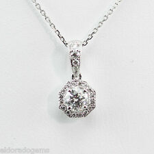 NECKLACE 0.47 CT. GENUINE DIAMOND CLUSTER SOLITAIRE PENDANT 14K WHITE GOLD 16""