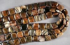 "SUPER PETRIFIED OPALIZED WOOD 14MM SQUARE BEADS 15.5"" STRAND"