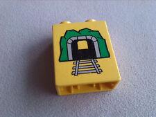 LEGO Duplo Tunnel Schild Hinweis Warnung Einfahrt Eisenbahn gelb Motivstein 1x2