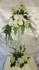 BEAUTIFUL HANDMADE LARGE TABLE CENTERPIECE FOR WEDDING ETC. WHITE/SAGE GREEN