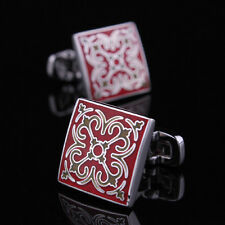Square Vintage Red  Mens Wedding Party gift shirt cufflinks cuff links
