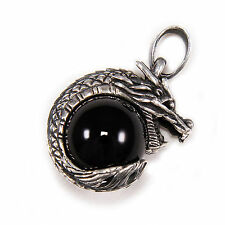 JAPANESE  DRAGON ONYX BALL 925 STERLING SILVER BIKER ROCKER PENDANT ec-048