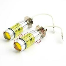 Pair 12V/24V 100W 4300K Golden Yellow Turn Signal Parking Fog Light H3 LED Bulb