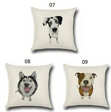 Pet Dog Pillowcase Cute Animals Pattern Cushion Cover Pillows cotton linen DOG08