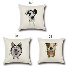 Pet Dog Pillowcase Cute Animals Pattern Cushion Cover Pillows Cotton Linen Dog07