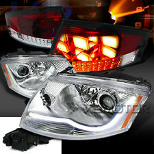 for 99-06 Audi TT Chrome Projector DRL Strip Headlights+Red/Clear LED Tail Lamps