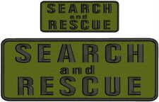 Search and Rescue embroidery patches 4x10 and 2x5 hook on back black letters