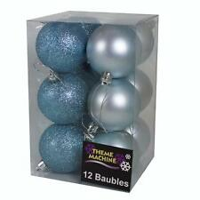 Christmas Tree Decoration 12 Pack 60mm Glitter / Plain Baubles - Ice Blue