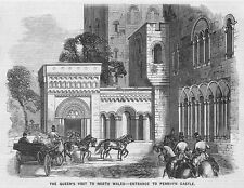 PENRHYN CASTLE Arrival of Queen Victoria - Antique Print 1859