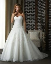 White/Ivory Organza Bridal Gown Wedding Dress Ball Gown Custom plus size 14-26+