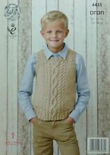KNITTING PATTERN Childrens Sleeveless Round Neck Cable Jumper Aran KingCole 4435